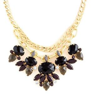 Black & Gray & Gold Statement Necklace,NWT